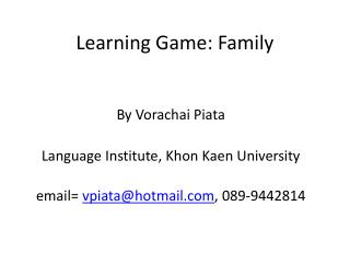 Learning Game: Family