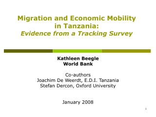 Migration and Economic Mobility  in Tanzania: Evidence from a Tracking Survey