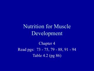 Nutrition for Muscle Development