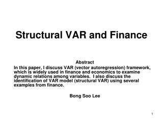 Structural VAR and Finance
