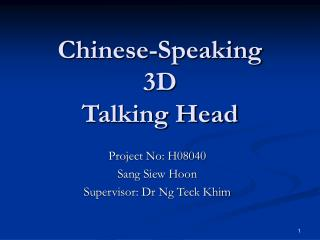 Chinese-Speaking 3D  Talking Head