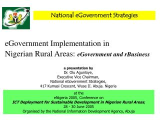 eGovernment Implementation in Nigerian Rural Areas: eGovernment and rBusiness