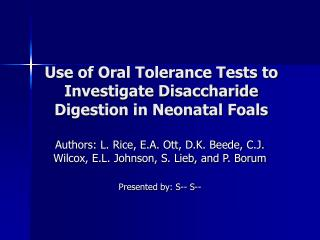 Use of Oral Tolerance Tests to Investigate Disaccharide Digestion in Neonatal Foals