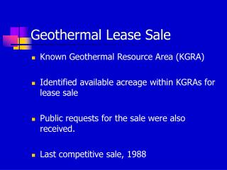 Geothermal Lease Sale