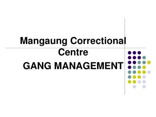 Mangaung Correctional Centre GANG MANAGEMENT