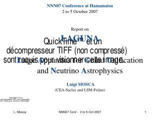 NNN07 Conference at Hamamatsu 2 to 5 October 2007 Report on  LAGUNA