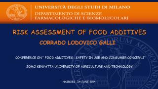 RISK  ASSESSMENT OF FOOD ADDITIVES