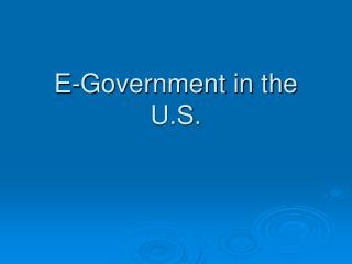 E-Government in the U.S.