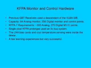 KFPA Monitor and Control Hardware