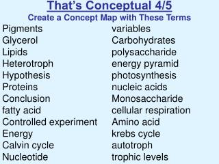 That's Conceptual 4/5 Create a Concept Map with These Terms