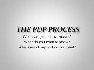 THE PDP PROCESS