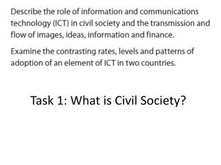 Task 1: What is Civil Society?
