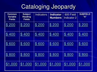 Cataloging Jeopardy