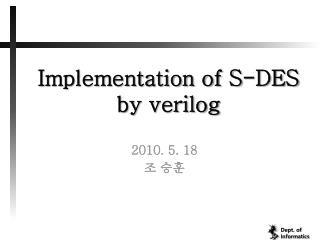Implementation of S-DES by  verilog