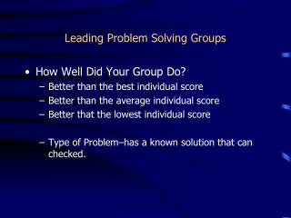 Leading Problem Solving Groups