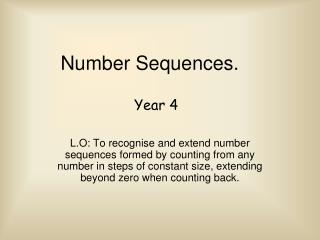 Number Sequences.