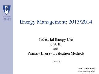 Energy Management: 2013/2014