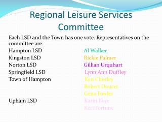 Regional Leisure Services Committee