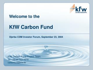 Welcome to the  KfW Carbon Fund