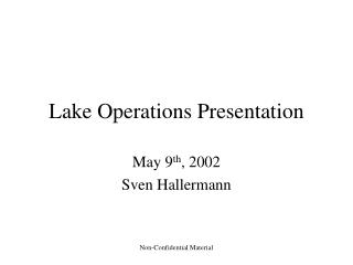 Lake Operations Presentation