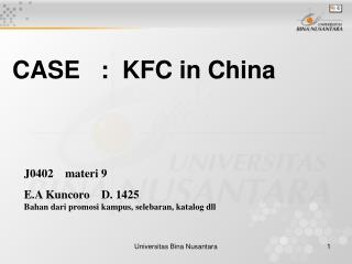 CASE   :  KFC in China