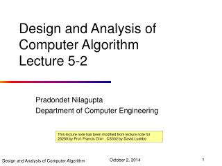 Design and Analysis of Computer Algorithm Lecture  5-2