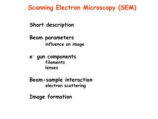 Short description Beam parameters influence on image e -  gun components 	filaments 	lenses
