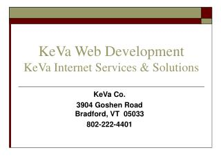 KeVa Web Development KeVa Internet Services & Solutions