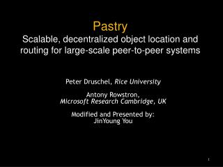 Pastry Scalable, decentralized object location and routing for large-scale peer-to-peer systems