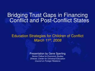Bridging Trust Gaps in Financing Conflict and Post-Conflict States