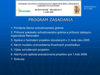 PROGRAM ZASADANIA