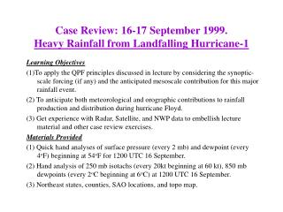 Case Review: 16-17 September 1999. Heavy Rainfall from Landfalling Hurricane-1