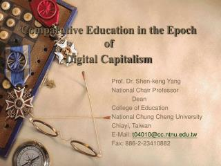 Comparative Education in the Epoch  of  Digital Capitalism
