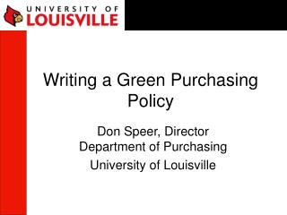 Writing a Green Purchasing Policy