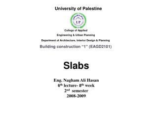 Slabs   Eng. Nagham Ali Hasan 6 th  lecture-  8 th  week 2 nd   semester 2008-2009