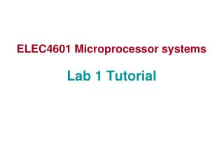 ELEC4601 Microprocessor systems Lab 1 Tutorial