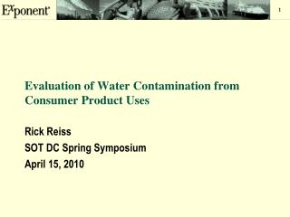 Evaluation of Water Contamination from Consumer Product Uses