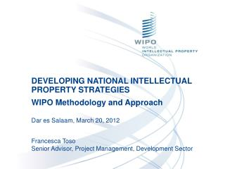 DEVELOPING NATIONAL INTELLECTUAL PROPERTY STRATEGIES WIPO Methodology and Approach