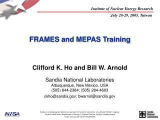 FRAMES and MEPAS Training