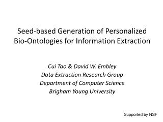Seed-based Generation of Personalized Bio- Ontologies  for Information Extraction