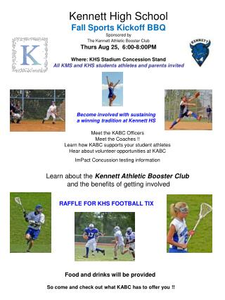 Kennett High School Fall Sports Kickoff BBQ Sponsored by The Kennett Athletic Booster Club