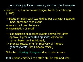 Autobiographical memory across the life-span