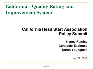 California s Quality Rating and Improvement System