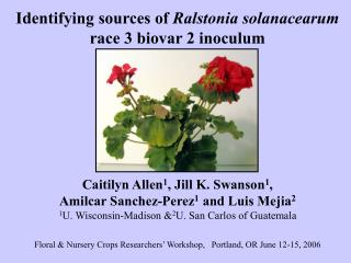 Identifying sources of  Ralstonia solanacearum race 3 biovar 2 inoculum Caitilyn Allen 1 , Jill K. Swanson 1 ,  Amilcar
