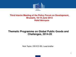 Thematic Programme on Global Public Goods and Challenges, 2014-20