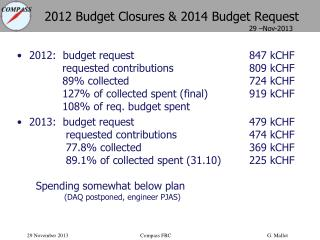 2012  Budget Closures &  2014  Budget Request