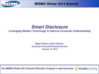 Smart Disclosure Leveraging Modern Technology to Improve Consumer Understanding