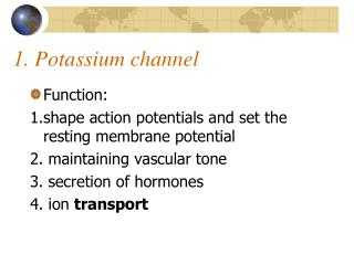 1. Potassium channel