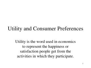 Utility and Consumer Preferences