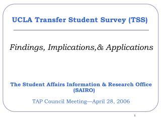 UCLA Transfer Student Survey (TSS)